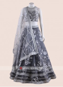 Thread Work Lehenga Choli in Grey