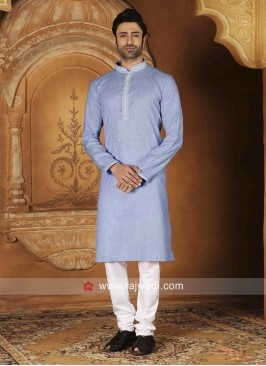 Thread Work Light Blue Color Kurta Pajama