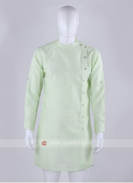 thread work light pista kurta