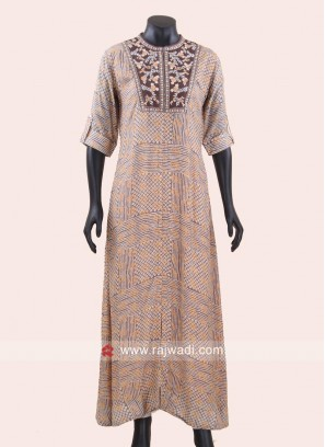 Thread WOrk Long Designer Kurti