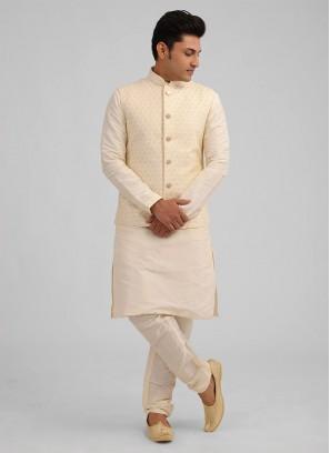 Thread Work Nehru Jacket Suit In Cream Color
