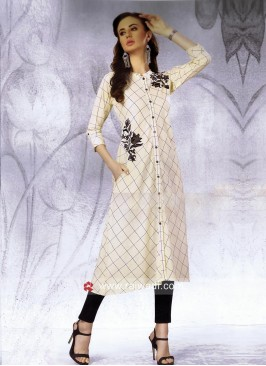 Thread Work Off White Checks Kurti with Pocket