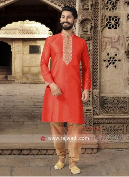 Thread Work Orange Kurta Pajama
