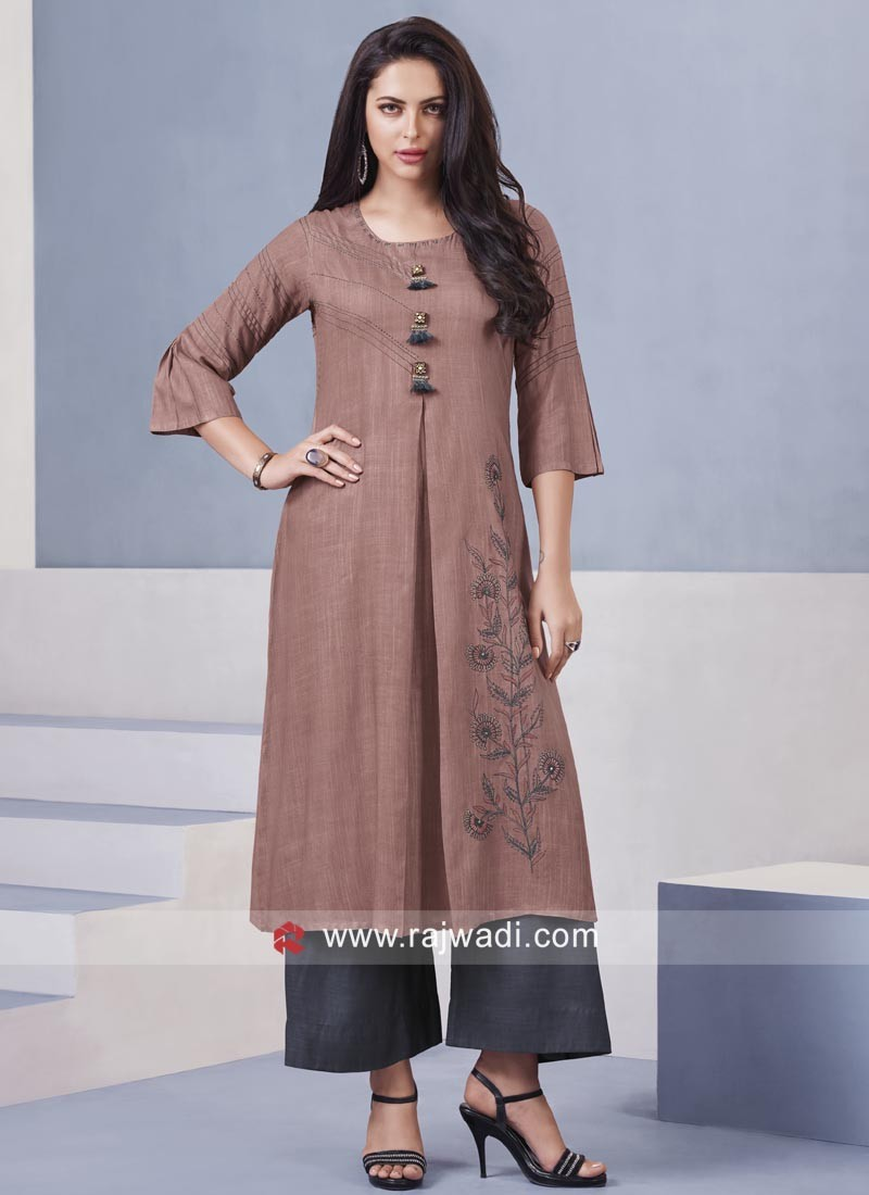 Thread Work Palazzo Suit in Dark Peach