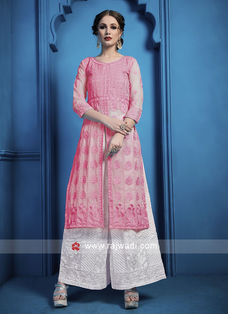 Thread Work Palazzo Suit in Pink