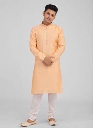 Thread Work Peach Color Kurta Pajama