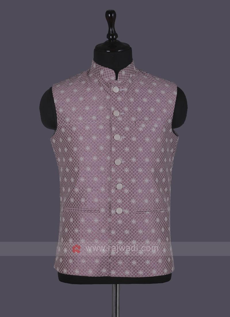 Thread Work Pink Nehru Jacket
