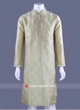 Thread Work Pista Color Kurta Set