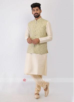 Thread Work Pista Green Nehru Jacket Set