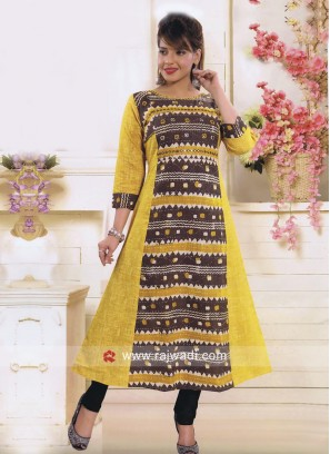 Thread Work Printed Straight Fit kurti
