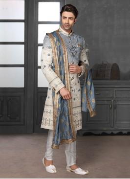 Lucknowi Work Shaded Sherwani For Wedding