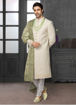 Thread Work Sherwani For Dulha