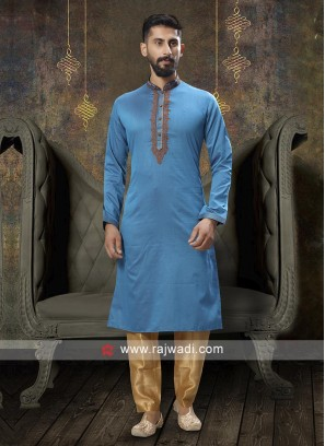 Thread Work Sky Blue Kurta Pajama