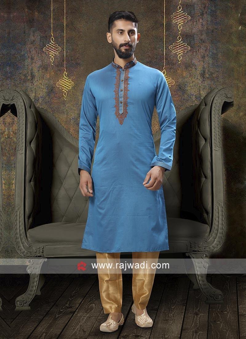 Thread Work Sky Blue Kurta Pajama