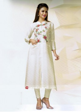 Thread Work Slit Kurti with Pocket
