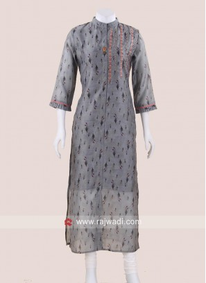 Thread Work Printed Kurti