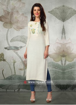 Thread Work Straight Fit Kurti