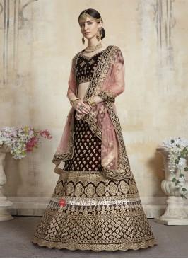 Thread Work Unstitched Bridal Lehenga Choli