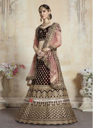 Thread Work Unstitched Bridal Lehenga Choli