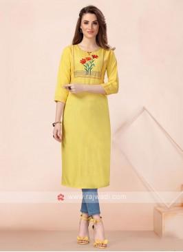 Thread Work Yellow Cotton Kurti