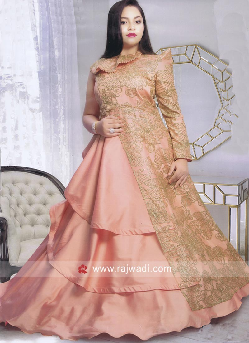 Three Layered Designer Full Length Girls Gown