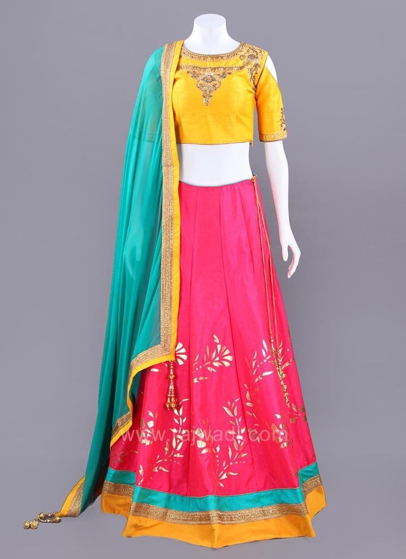 Three Tone Color Choli Suit with Chunni