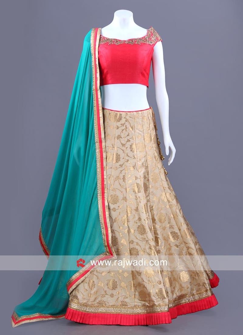 Three Tone Embellished Choli Set with Dupatta