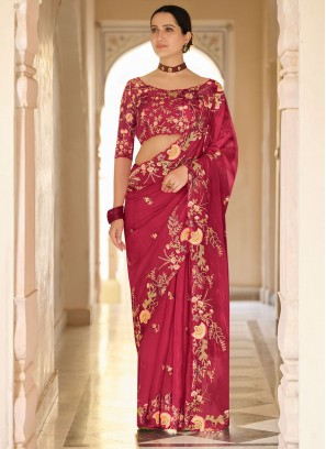 Thrilling Red Sequins Organza Trendy Saree