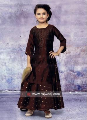 Tikki Work Silk Salwar Kameez for Girls