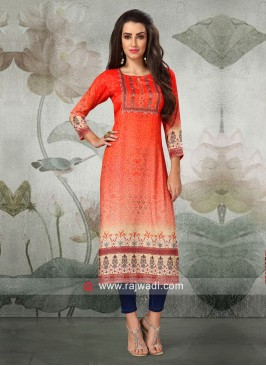 Tikki Work Straight Fit Kurti