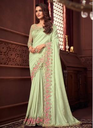 Tiptop Silk Green Designer Saree