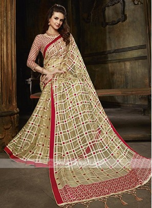 Tissue brasso checks saree