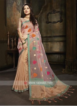 Tissue brasso half and half saree