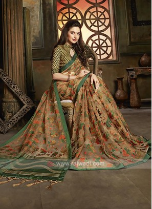 Tissue brasso saree brown in color