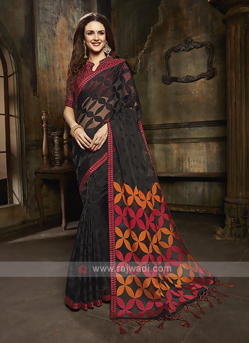 Tissue brasso saree in black color