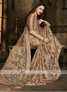 Tissue brasso saree in brown color