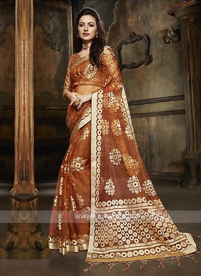 Tissue brasso saree in rust color