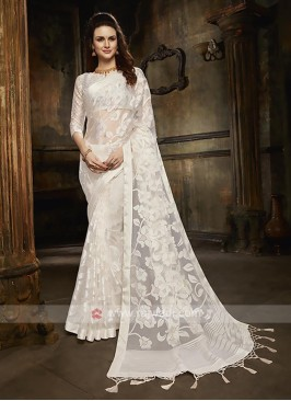 Tissue brasso saree in white color