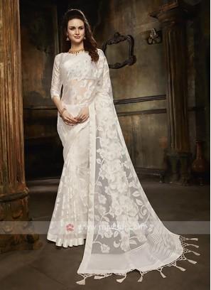 Tissue brasso saree in white color