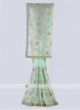 Tissue chiffon saree in pista green color