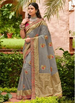 Tissue Designer Traditional Saree in Grey