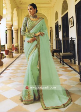 Tissue Embroidered Saree in Sea Green