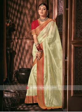 Tissue Golden Cream Color Saree