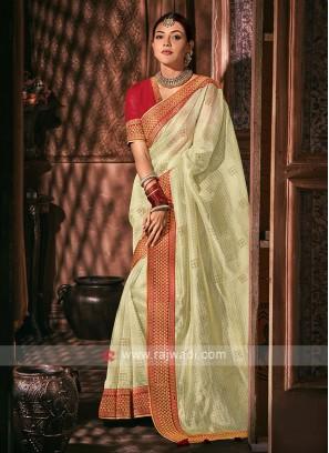 Tissue Golden Cream Color Saree