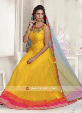 Tissue Silk Anarkali Dress with Contrast Border