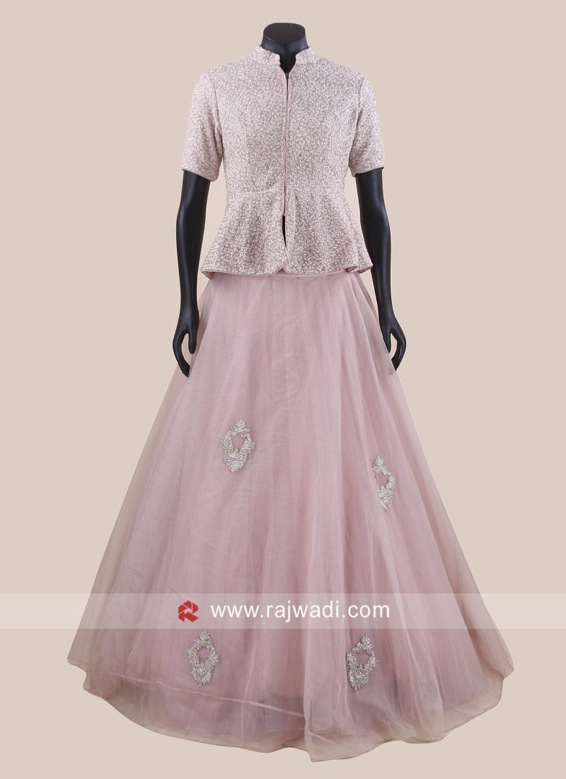 Tissue Silk and Raw Silk Lehenga Set in Light Pink