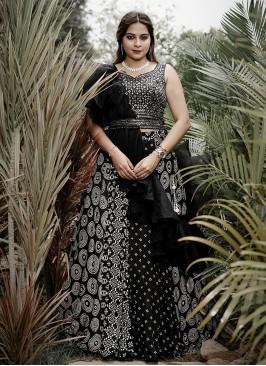 Tissue Silk Choli Suit In Black Color