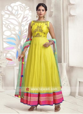 Tissue Silk Embroidered Anarkali Dress
