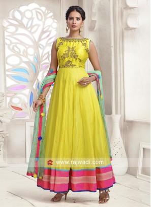 Tissue Silk Embroidered Anarkali Dress