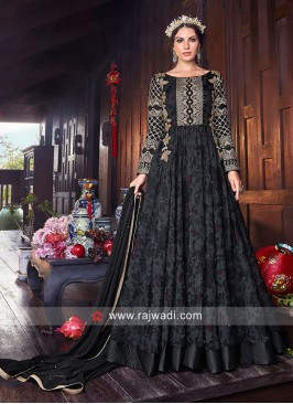 Tissue Silk Floor Length Anarkali Suit